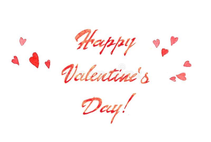 水彩与玫瑰色心脏和桃红色题字卡片的Valentine's天 库存例证