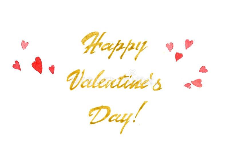 水彩与玫瑰色心脏和桃红色/金黄题字卡片的Valentine's天 向量例证