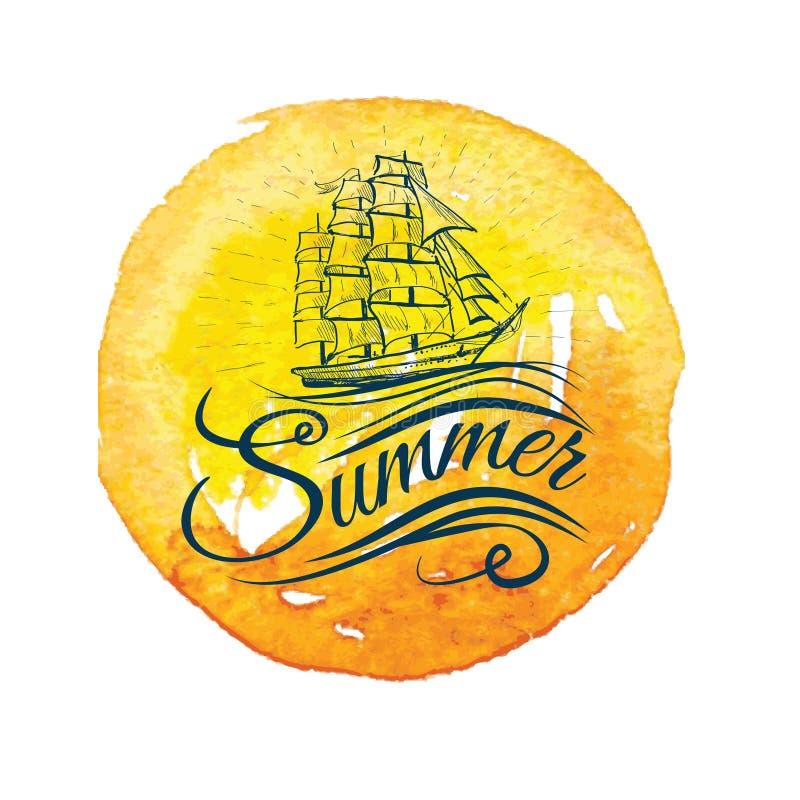 水彩与船和手字法的葡萄酒标签 库存例证