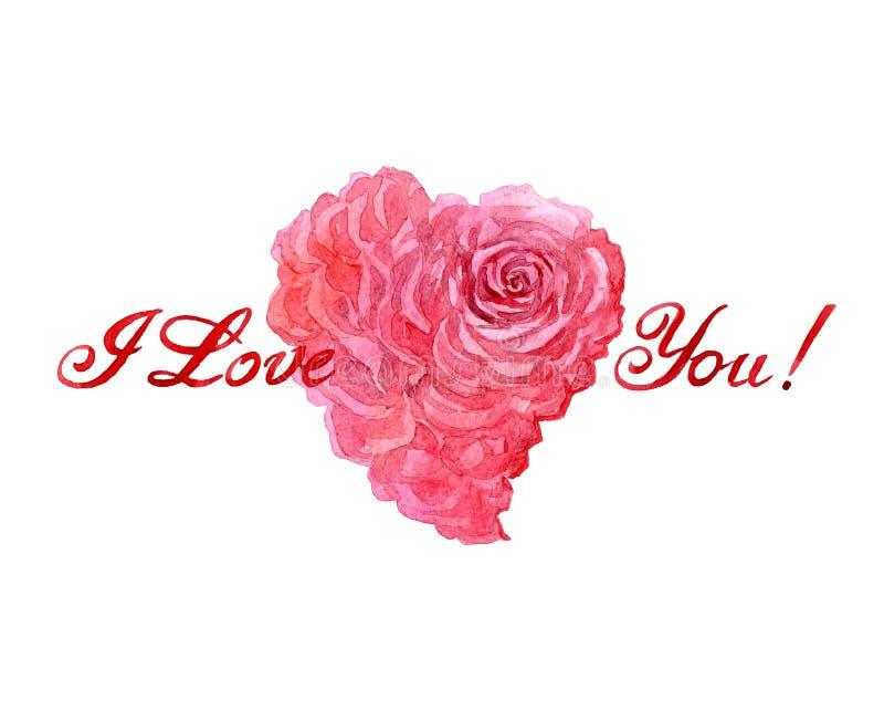 水彩与被隔绝的玫瑰色心脏卡片的valentine's天 向量例证