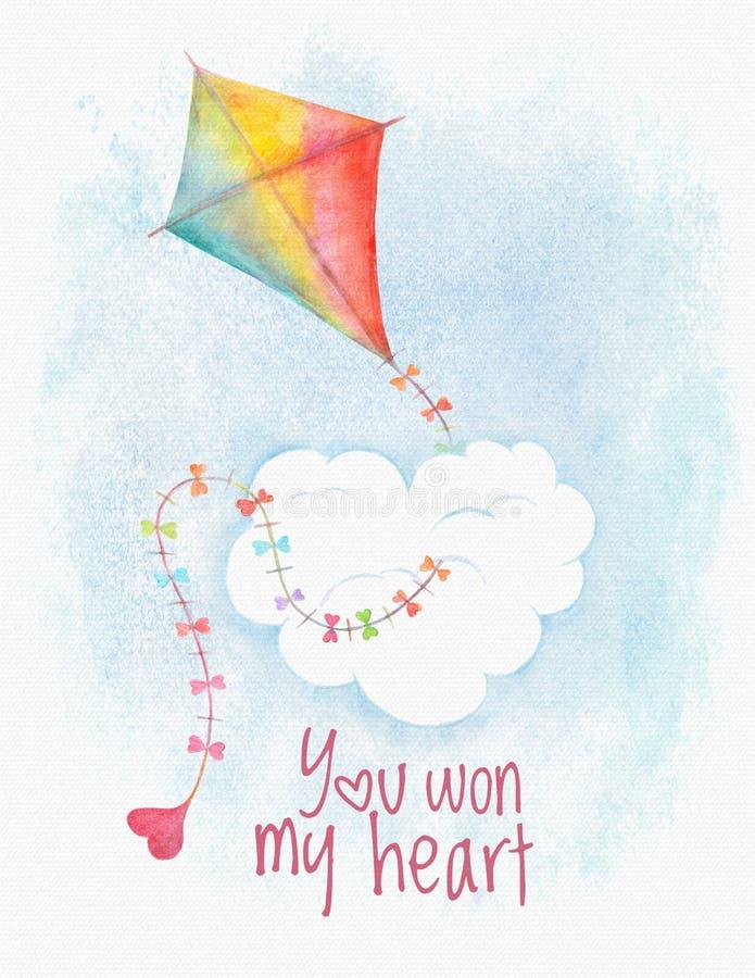 水彩与风筝和心脏的情人节卡片 皇族释放例证