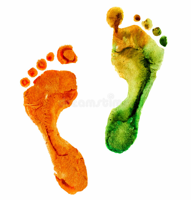 水彩五颜六色的脚印 免版税库存照片