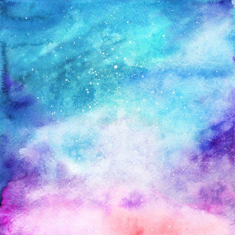 水彩五颜六色的满天星斗的空间星系星云背景 库存例证