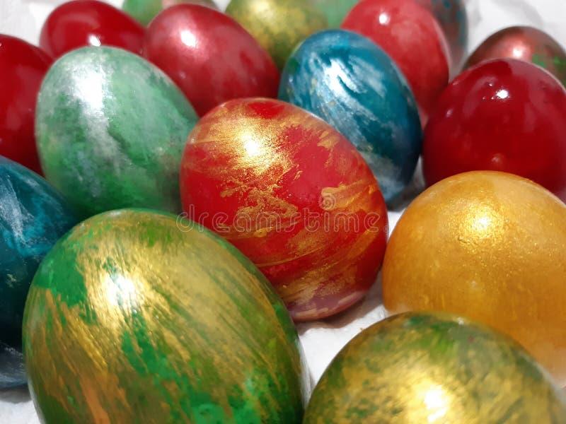 彩亮的复活节彩蛋 库存图片