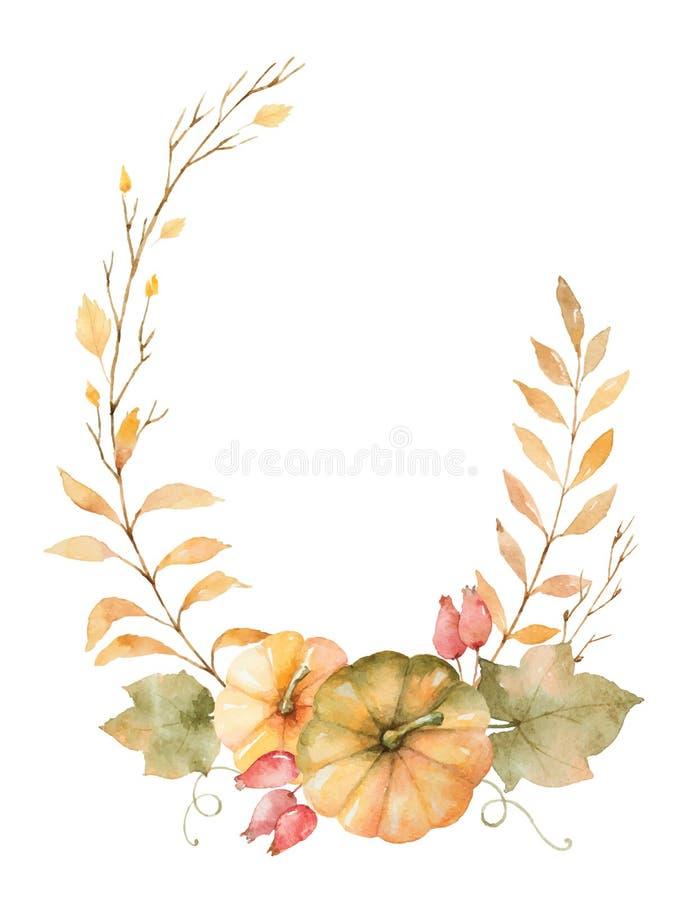水彩传染媒介在白色背景和南瓜隔绝的秋天花圈叶子、分支 皇族释放例证