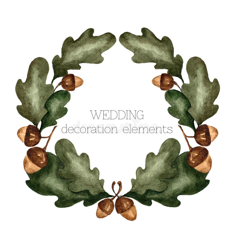 水彩传染媒介橡木叶子花圈 皇族释放例证