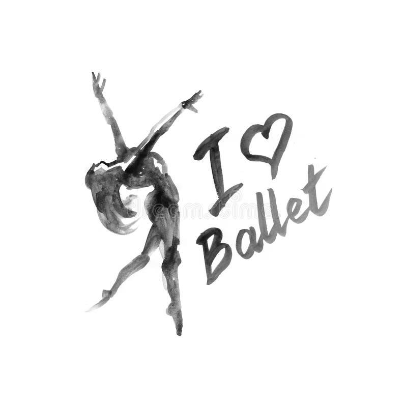 水彩例证在舞蹈的芭蕾舞女演员象 设计海报芭蕾学校,演播室 皇族释放例证