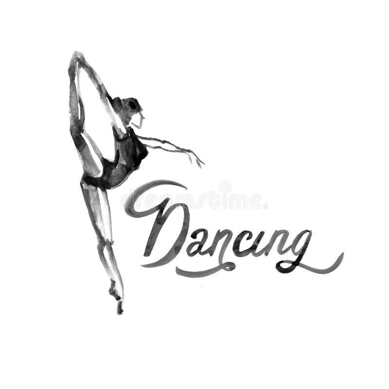 水彩例证在舞蹈的芭蕾舞女演员象 设计海报芭蕾学校,演播室 库存例证