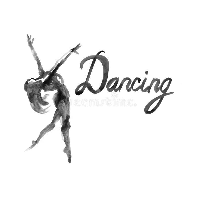 水彩例证在舞蹈的芭蕾舞女演员象 设计海报芭蕾学校,演播室 向量例证
