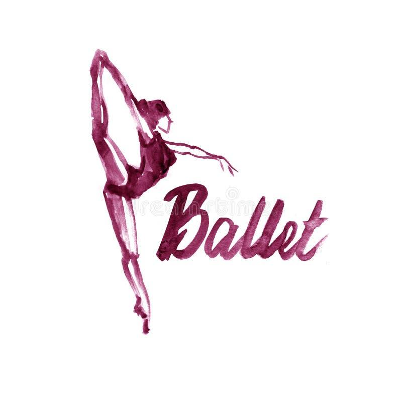 水彩例证褐紫红色在舞蹈的芭蕾舞女演员象 设计海报芭蕾学校,演播室 皇族释放例证