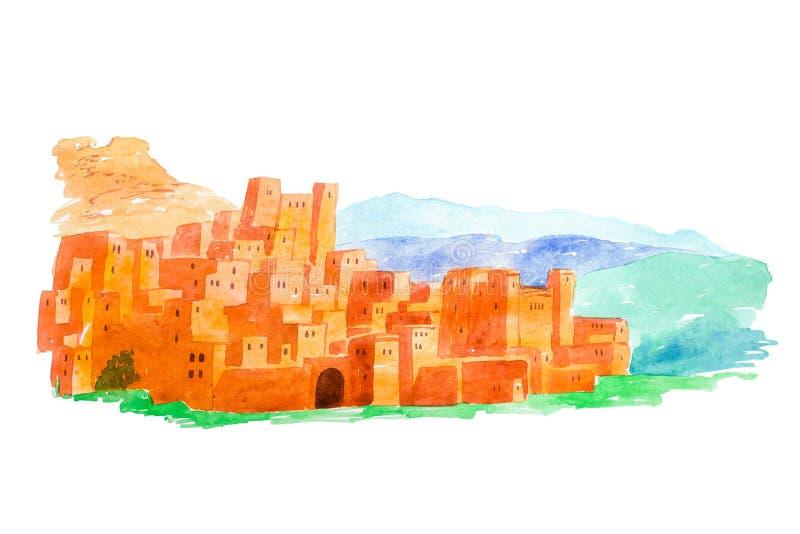 水彩例证Kasbah Ait摩洛哥的阿特拉斯山脉的本Haddou 库存例证