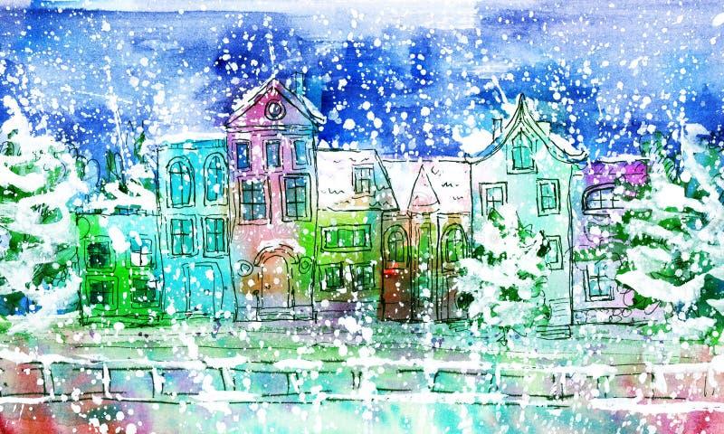 水彩冬天城市 向量例证