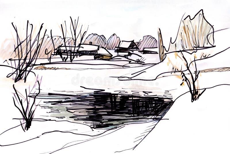 水彩冬天风景 向量例证
