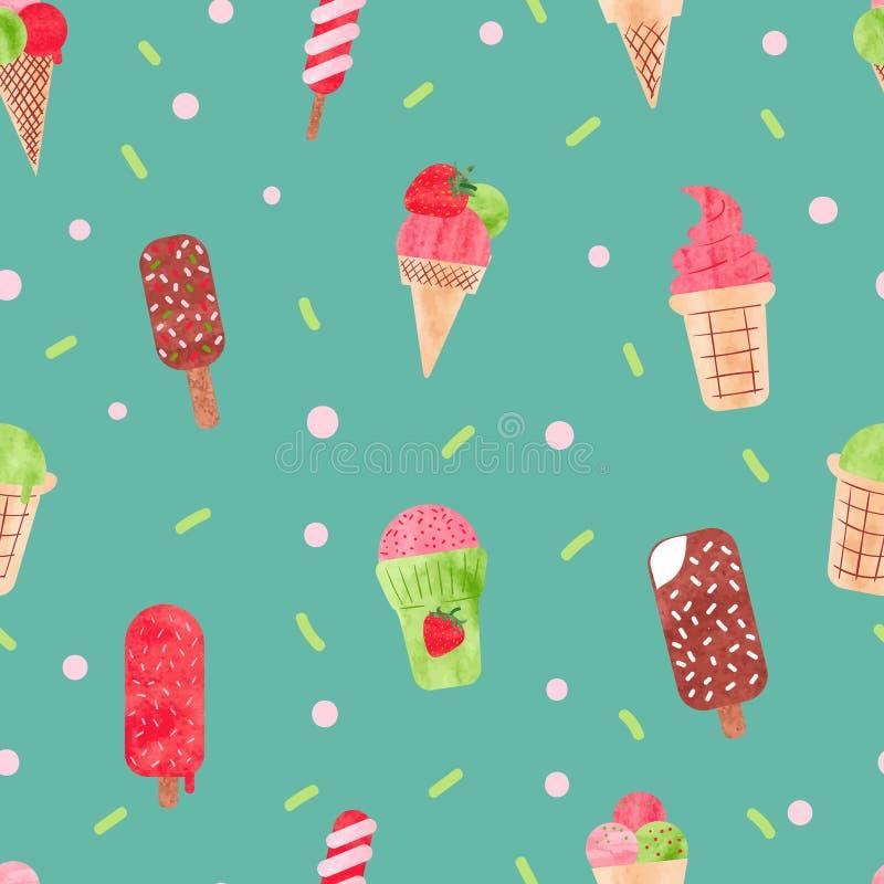 水彩冰淇凌无缝的样式 向量例证
