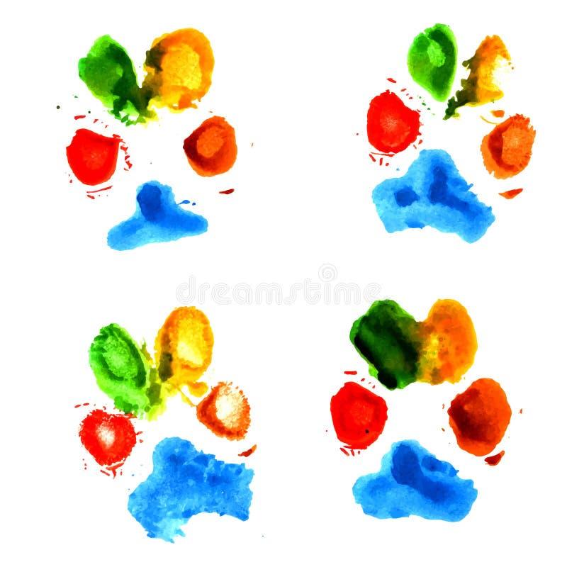 水彩动物爪子印刷品 库存例证