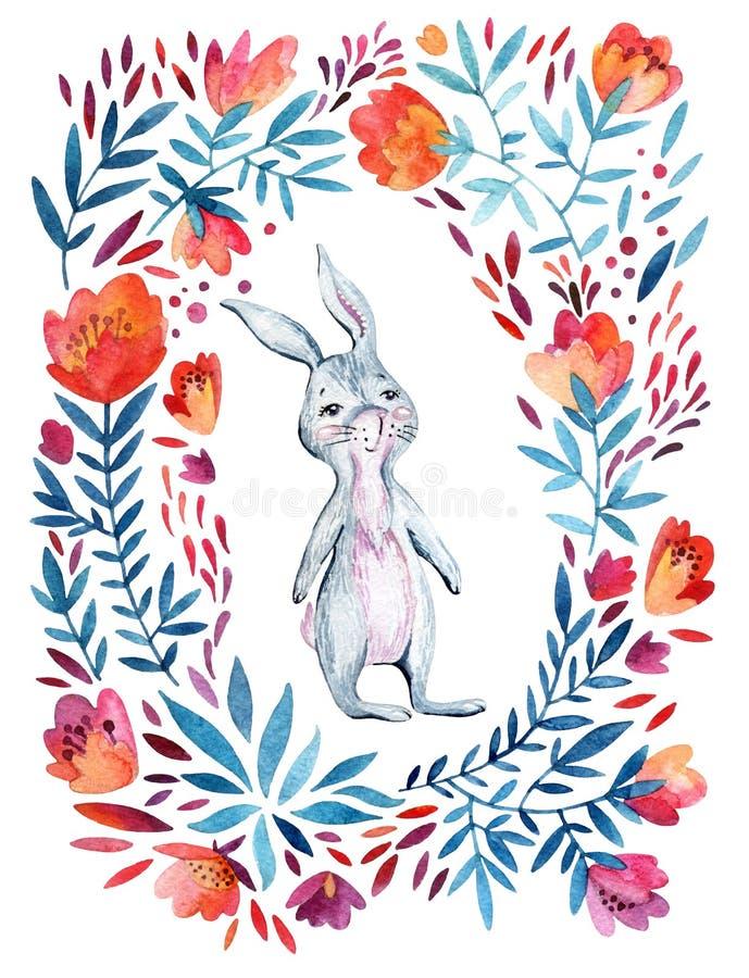 水彩华丽花和逗人喜爱的兔宝宝 库存例证