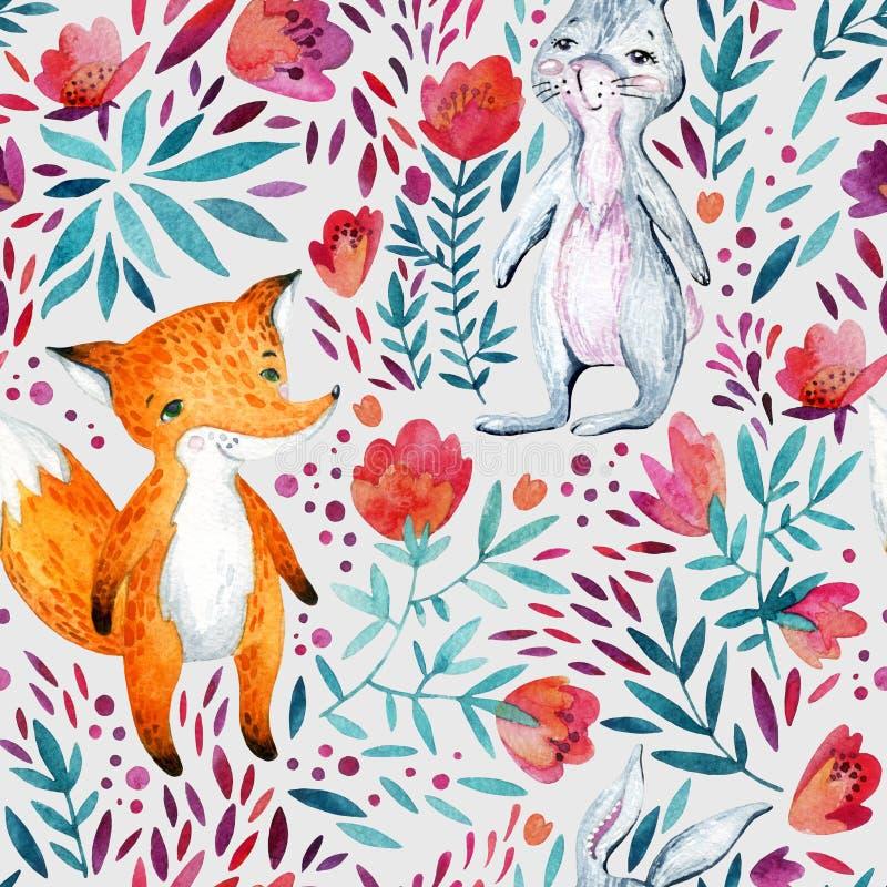 水彩华丽花和逗人喜爱的狐狸 皇族释放例证