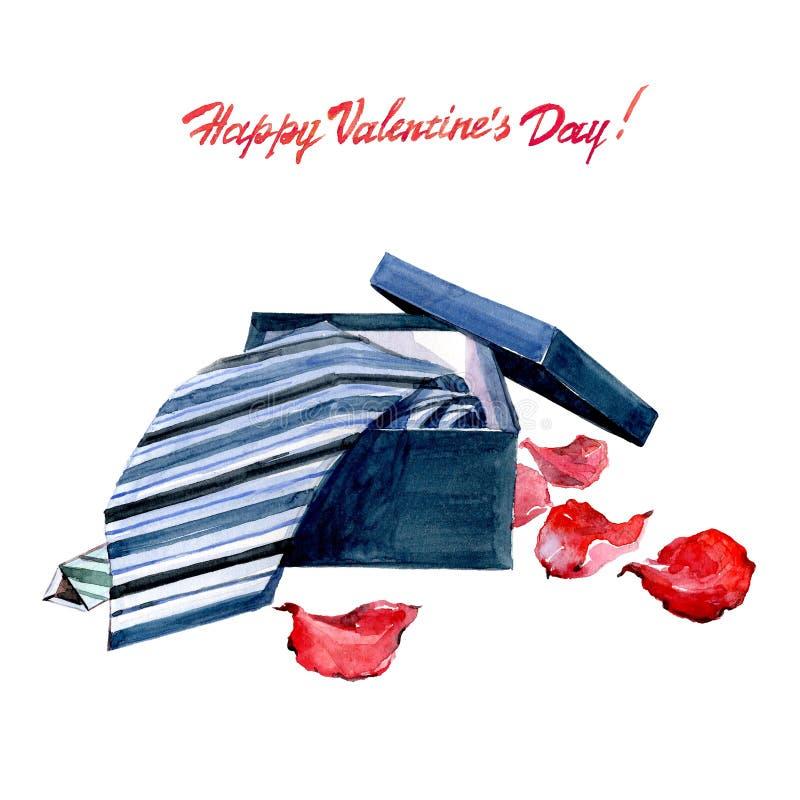水彩华伦泰` s天卡片镶边了与玫瑰花瓣的领带 库存例证