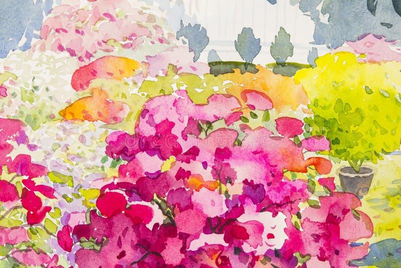 水彩原始的山水画五颜六色纸花和情感 皇族释放例证