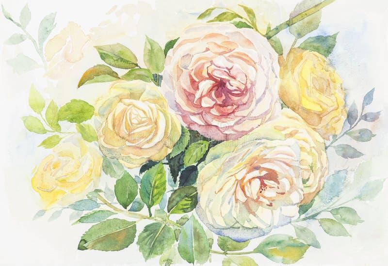 水彩原始的绘画现实玫瑰花 向量例证
