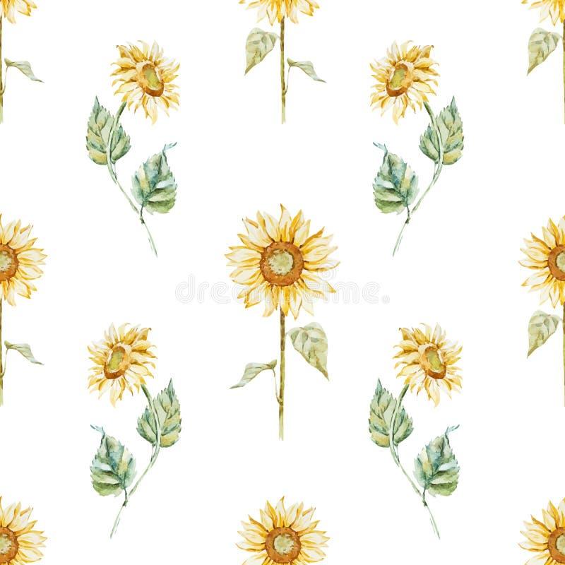 水彩向日葵样式 皇族释放例证