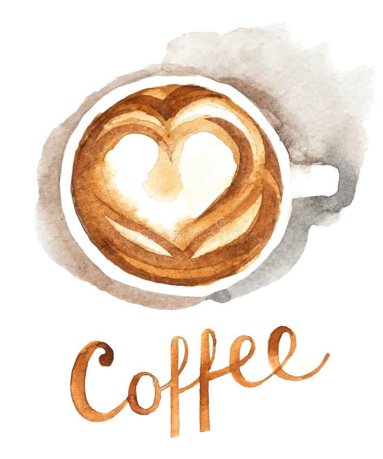 水彩咖啡杯 皇族释放例证