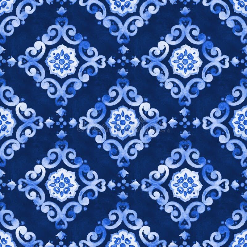 水彩品蓝丝绒无缝的样式 免版税库存图片