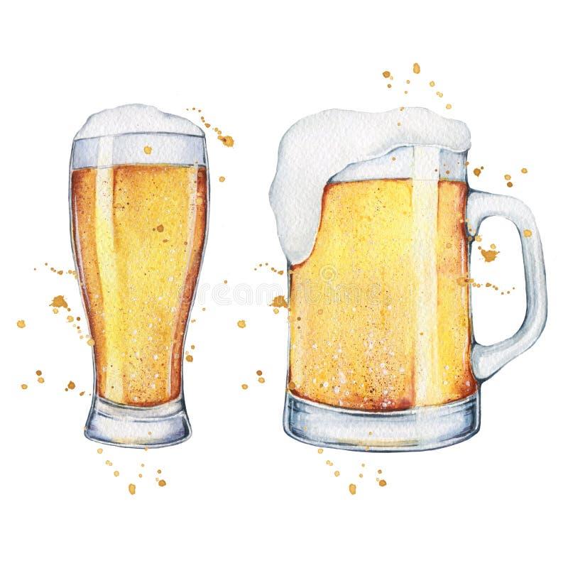 水彩啤酒杯和品脱 无缝的模式 向量例证