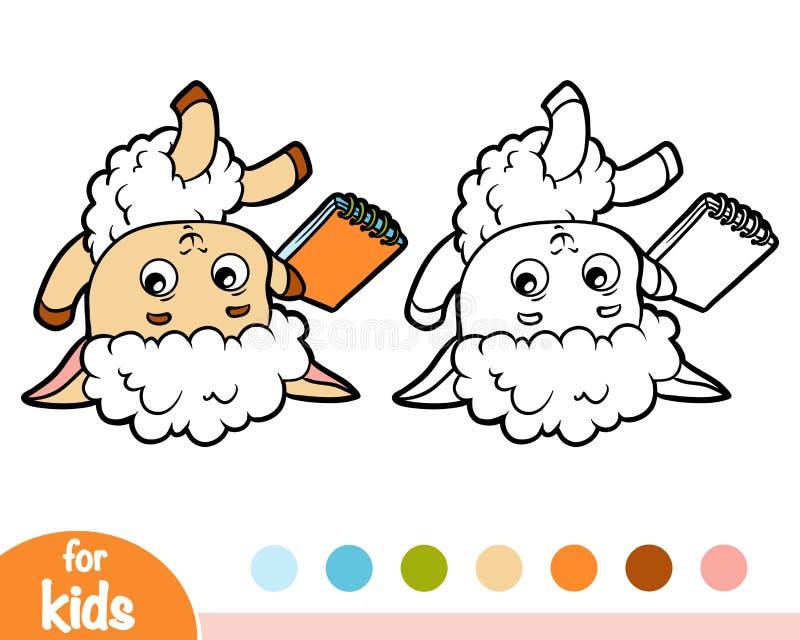 彩图、绵羊作家有铅笔的和笔记本 库存例证