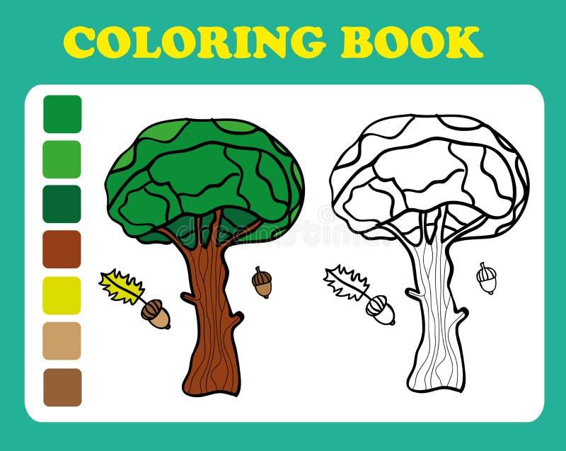 彩图或页橡木的动画片例证 向量例证