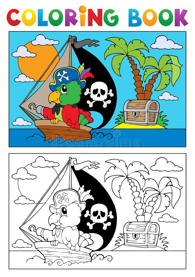 彩图海盗鹦鹉主题3 向量例证