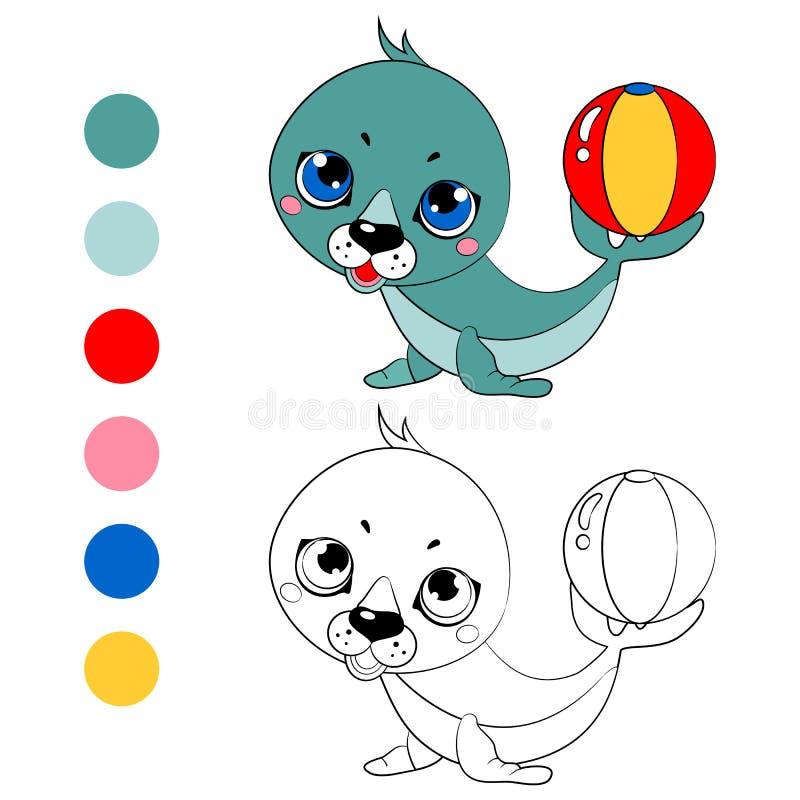 彩图白色海狗小狗,比赛的孩子布局 向量例证