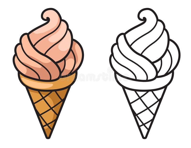 彩图的五颜六色和黑白冰淇凌 库存例证