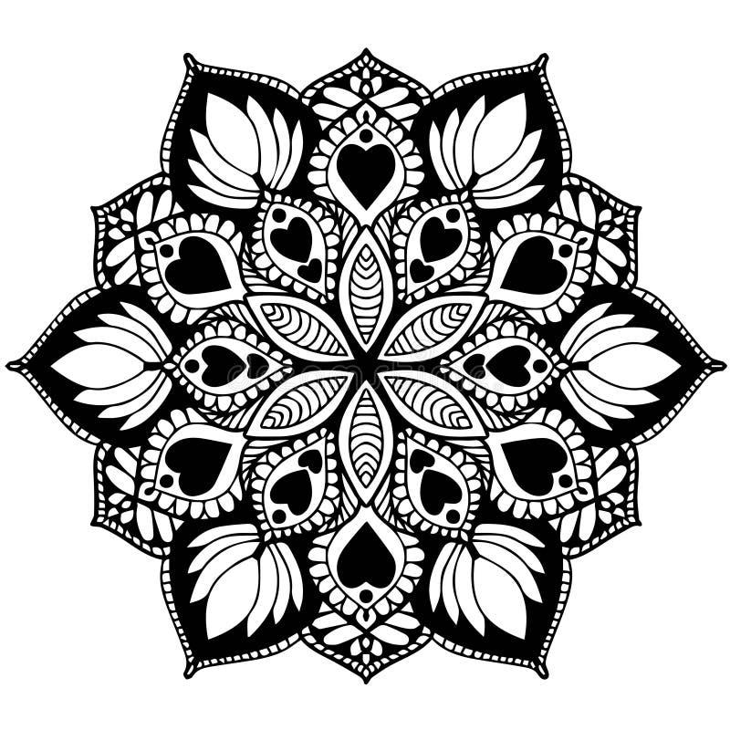 彩图的坛场 装饰圆的装饰品 异常的花形状 东方传染媒介,反重音疗法样式 织法 向量例证