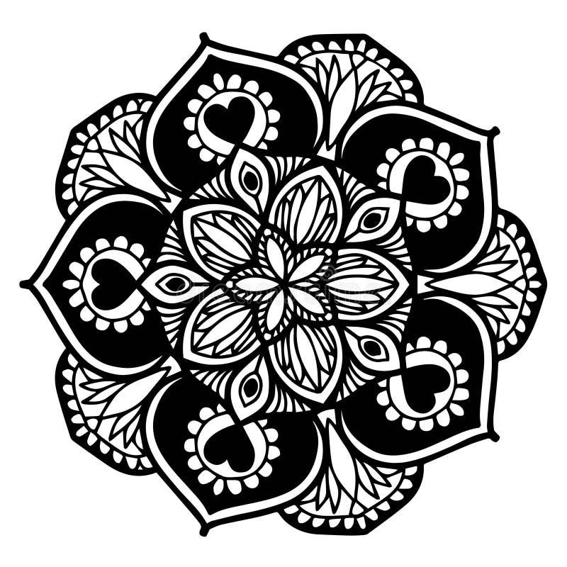 彩图的坛场 装饰圆的装饰品 异常的花形状 东方传染媒介,反重音疗法样式 织法 库存例证