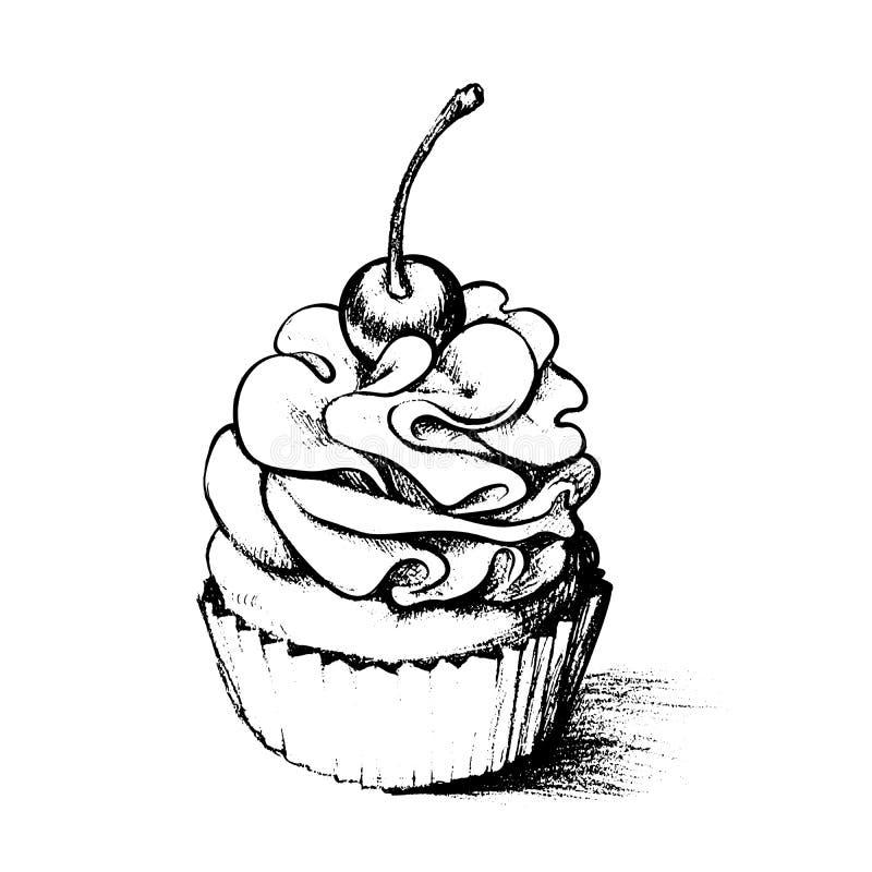 彩图的手拉的杯形蛋糕 库存例证