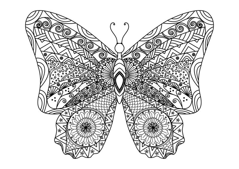彩图的手拉的蝴蝶zentangle样式 免版税库存照片