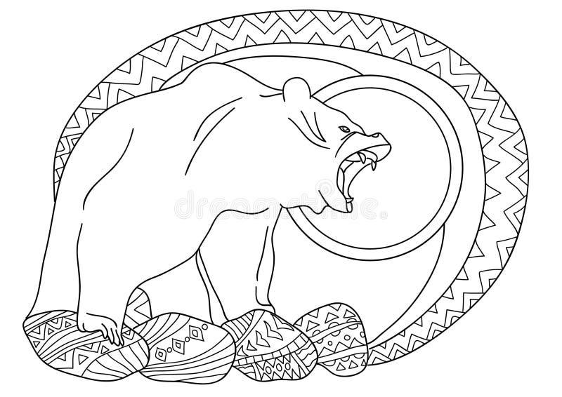 彩图的线艺术设计成人的 熊在岩石的森林里 库存例证