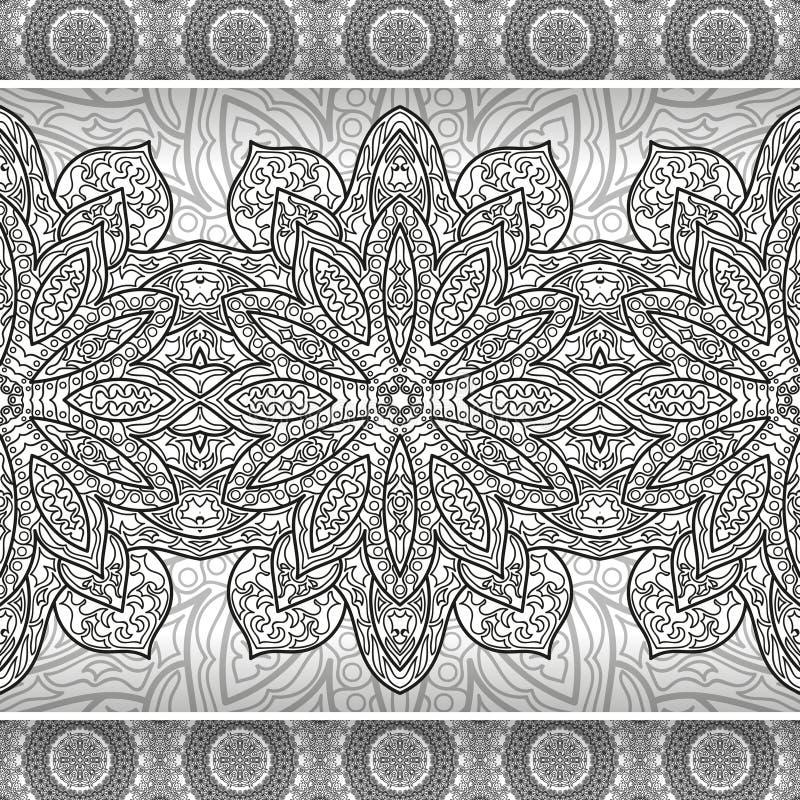 彩图的花坛场 黑白种族无刺指甲花样式 装饰要素葡萄酒 回教,阿拉伯语,印地安人,摩洛哥 库存例证