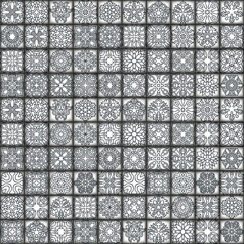 彩图的花坛场 黑白种族无刺指甲花样式 装饰要素葡萄酒 回教,阿拉伯语,印地安人,摩洛哥 向量例证