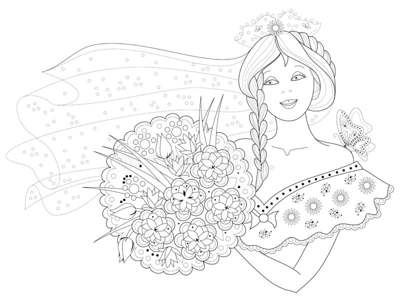 彩图的黑白页 美女幻想图画有花束的 库存例证