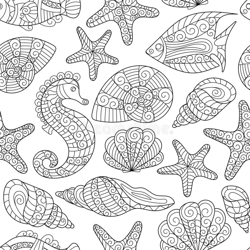 彩图的黑白无缝的样式 泡影复制鱼例证生活海运海草空间文本向量 向量例证