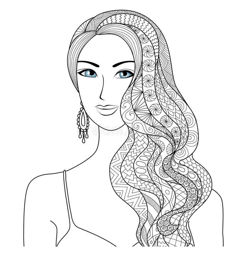 彩图的画的性感的妇女zentangle发型成人的 库存例证