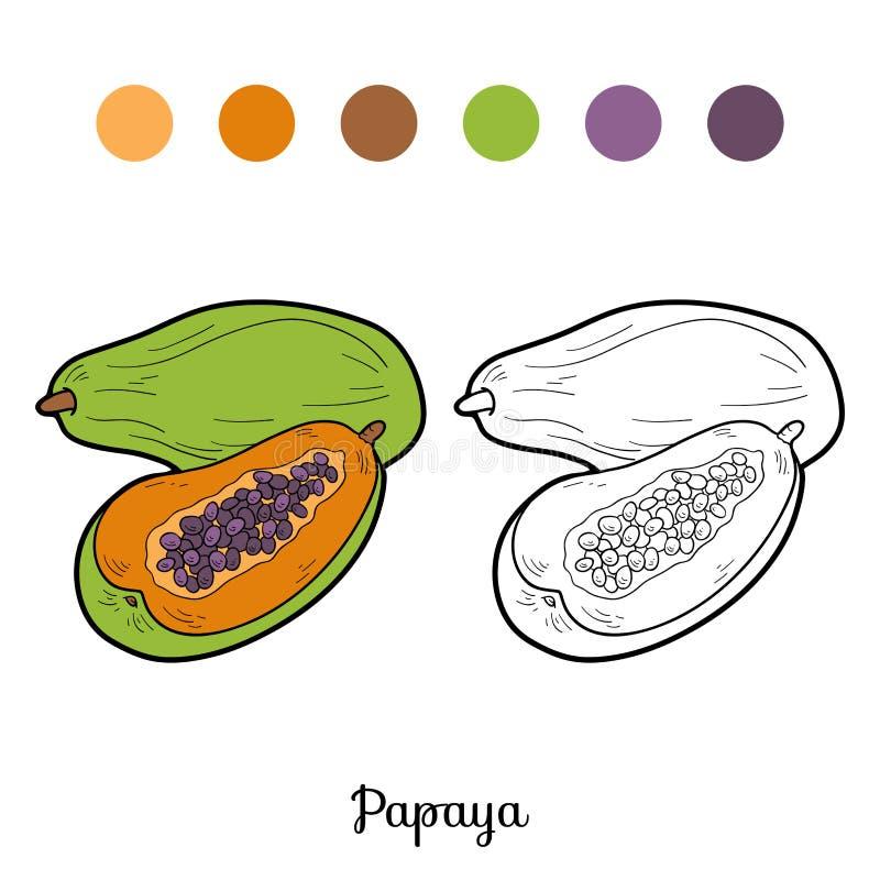 彩图:水果和蔬菜(番木瓜) 库存例证