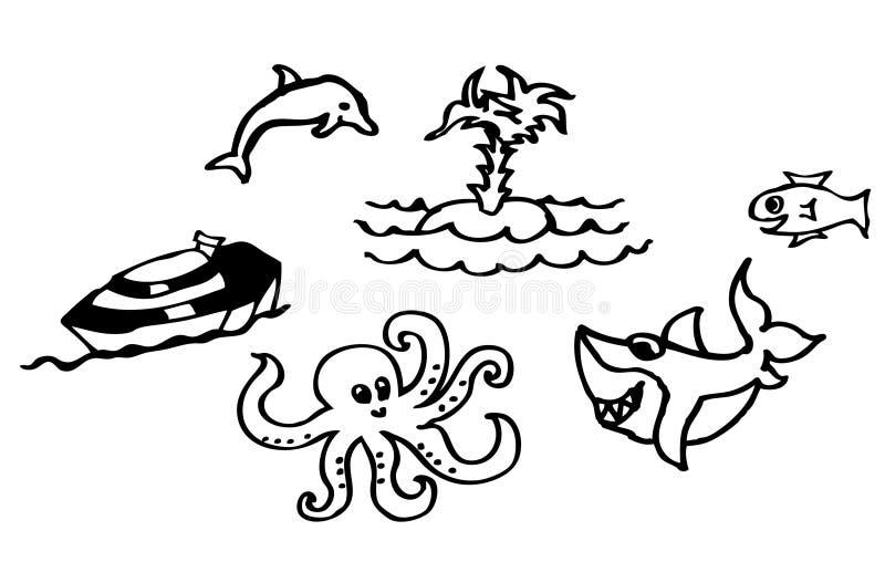 彩图-关于海滩和海的图画有一个鲨鱼和一只海豚的也孩子的可利用作为传染媒介图画 皇族释放例证