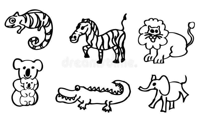 彩图-关于野生动物的图画有也狮子和鳄鱼的孩子的可利用作为传染媒介图画 向量例证