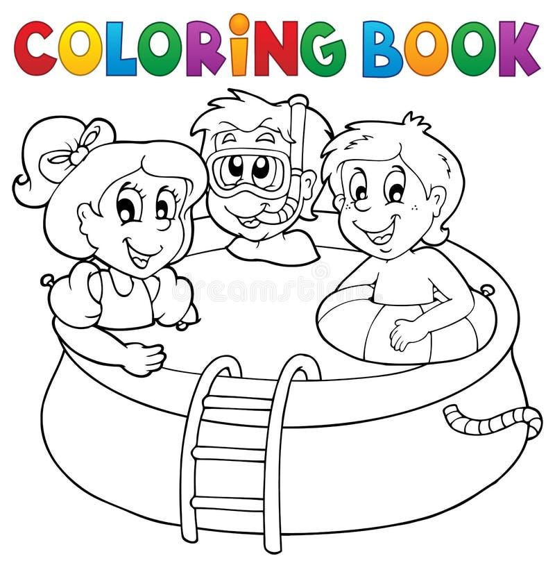 彩图水池和孩子 库存例证