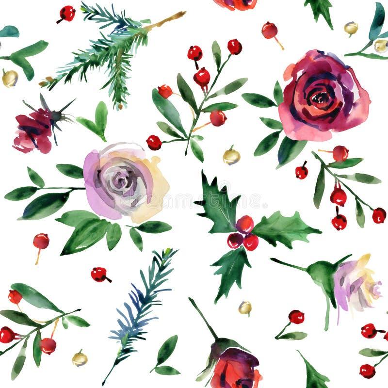 水彩圣诞节无缝的样式 罗莎花,霍莉,杉木分支,莓果水彩例证 向量例证