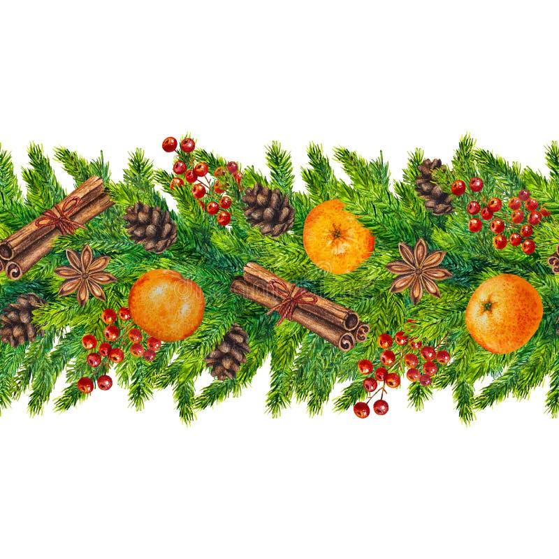 水彩圣诞节无缝的边界 图库摄影