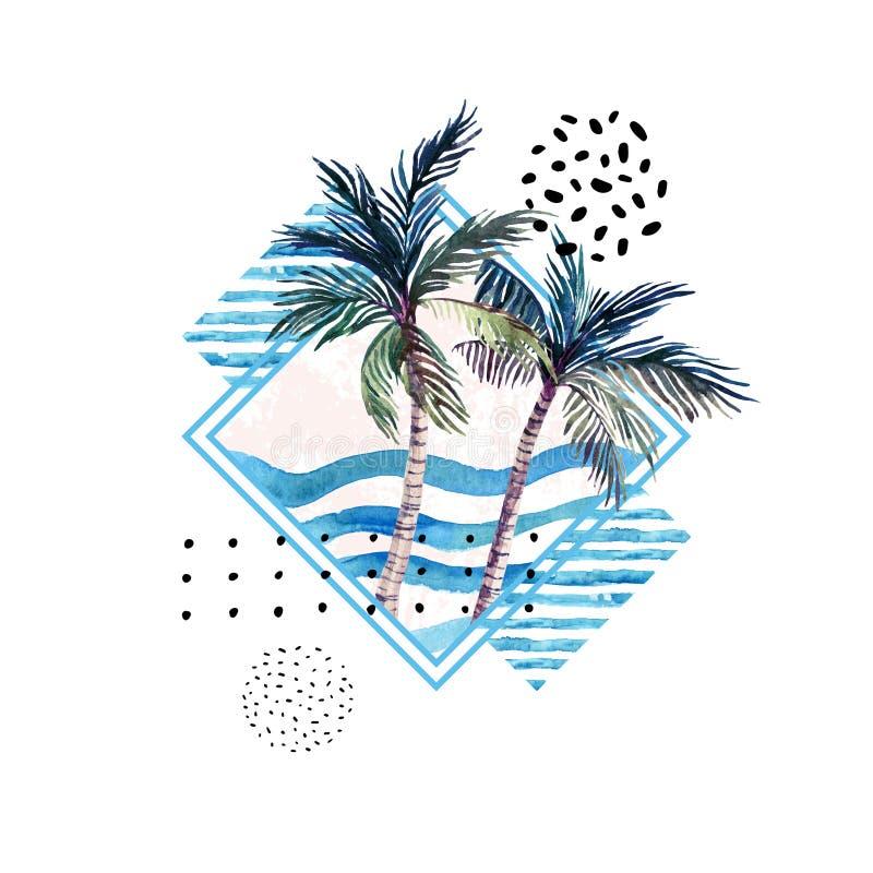 水彩在几何形状的棕榈树印刷品与在白色背景隔绝的孟菲斯元素 皇族释放例证